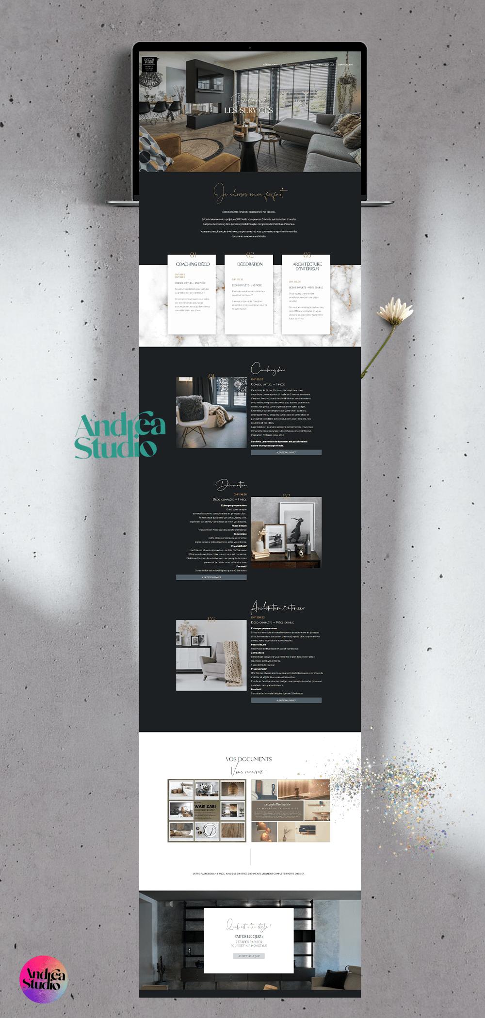 création de site internet pour décorateur d'interieur